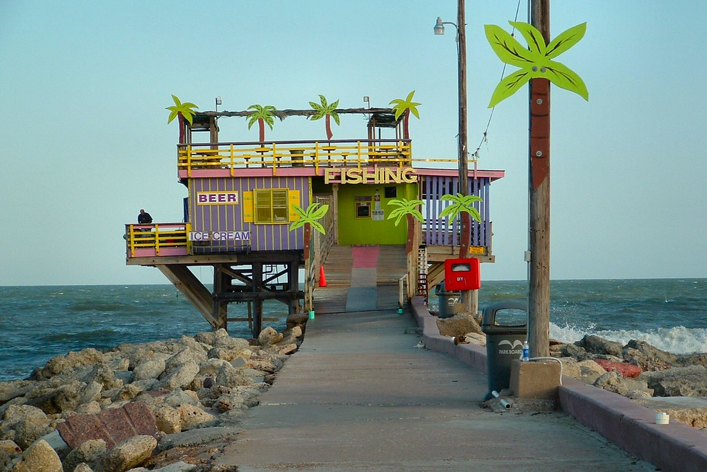 Cheesy tropical 61st street beach fishing pier for Galveston fishing pier