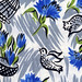 vintage fabric - tulips and birds