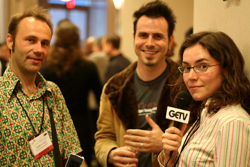 three people enjoying a NetSquared Conference