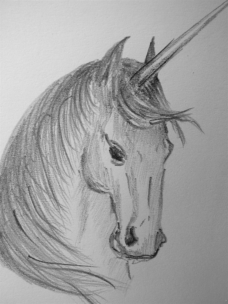 Unicorn sketch | Pencil on my sketch pad. 6 x 9 cm. Tiny ...