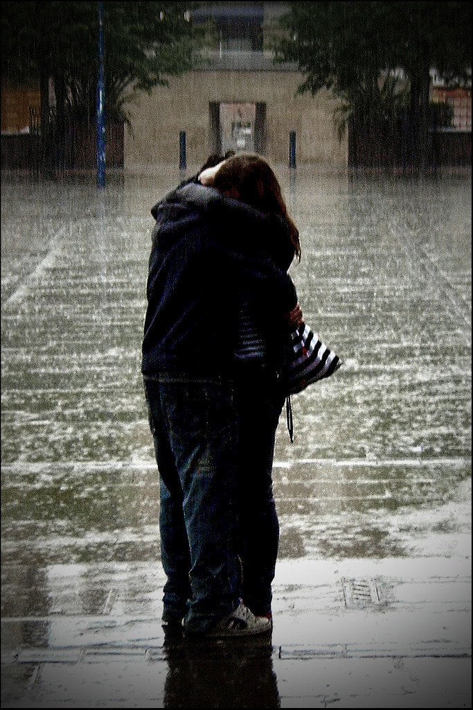 Couple in the rain (Remaster 2) | Two people hugging in ...