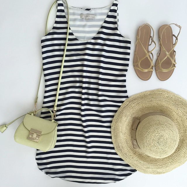 LOFT Striped Shirttail Tank Dress Outfit