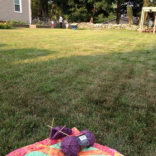 Sock knitting while my people plant some flowers. A perfect summer evening 92/100 #the100dayproject #my100daysofeverydaymoments