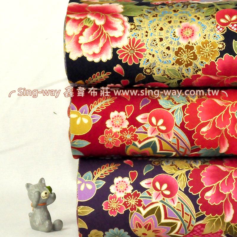 牡丹圖 日式和風 富貴花卉 手工藝DIy拼布布料 CA450643