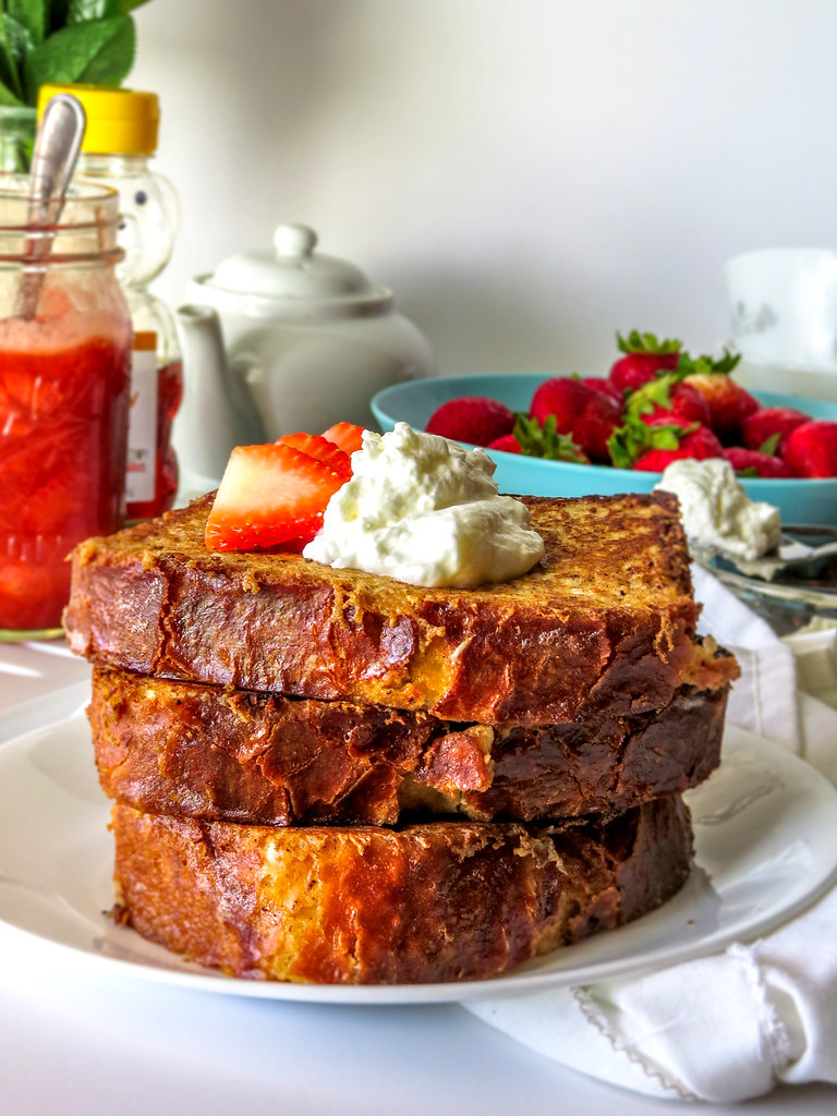 Brioche French toast with a Whipped Rose Water Cream and Strawberry Compote