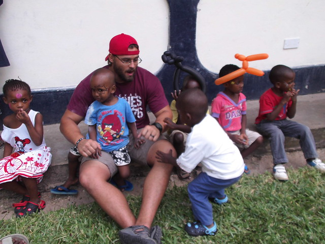 Joshua with the children