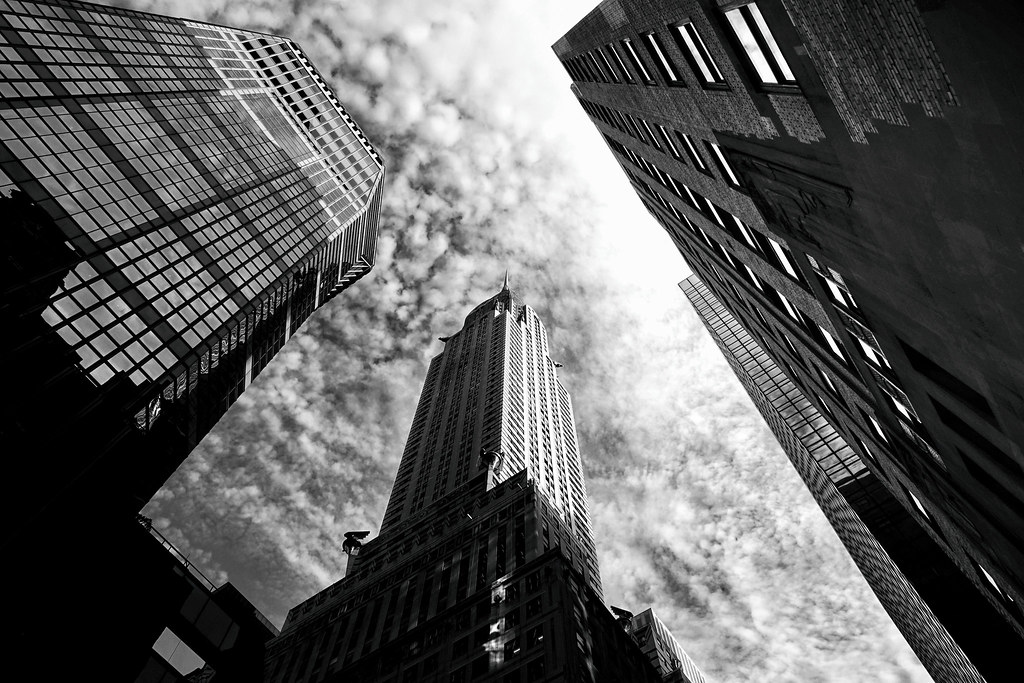 New york city chrysler building black and white by vivienne gucwa