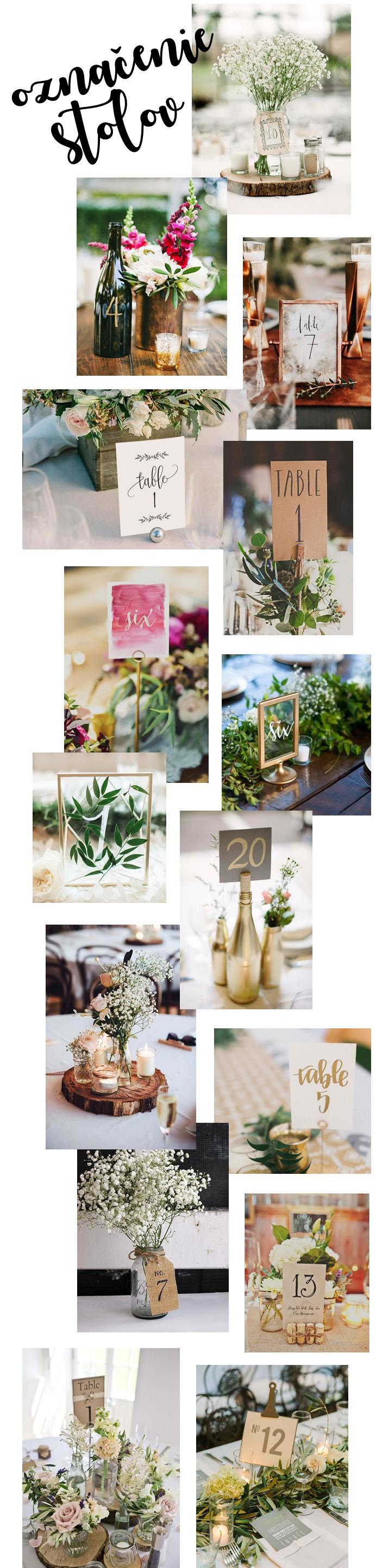 WEDDING označenie stolov