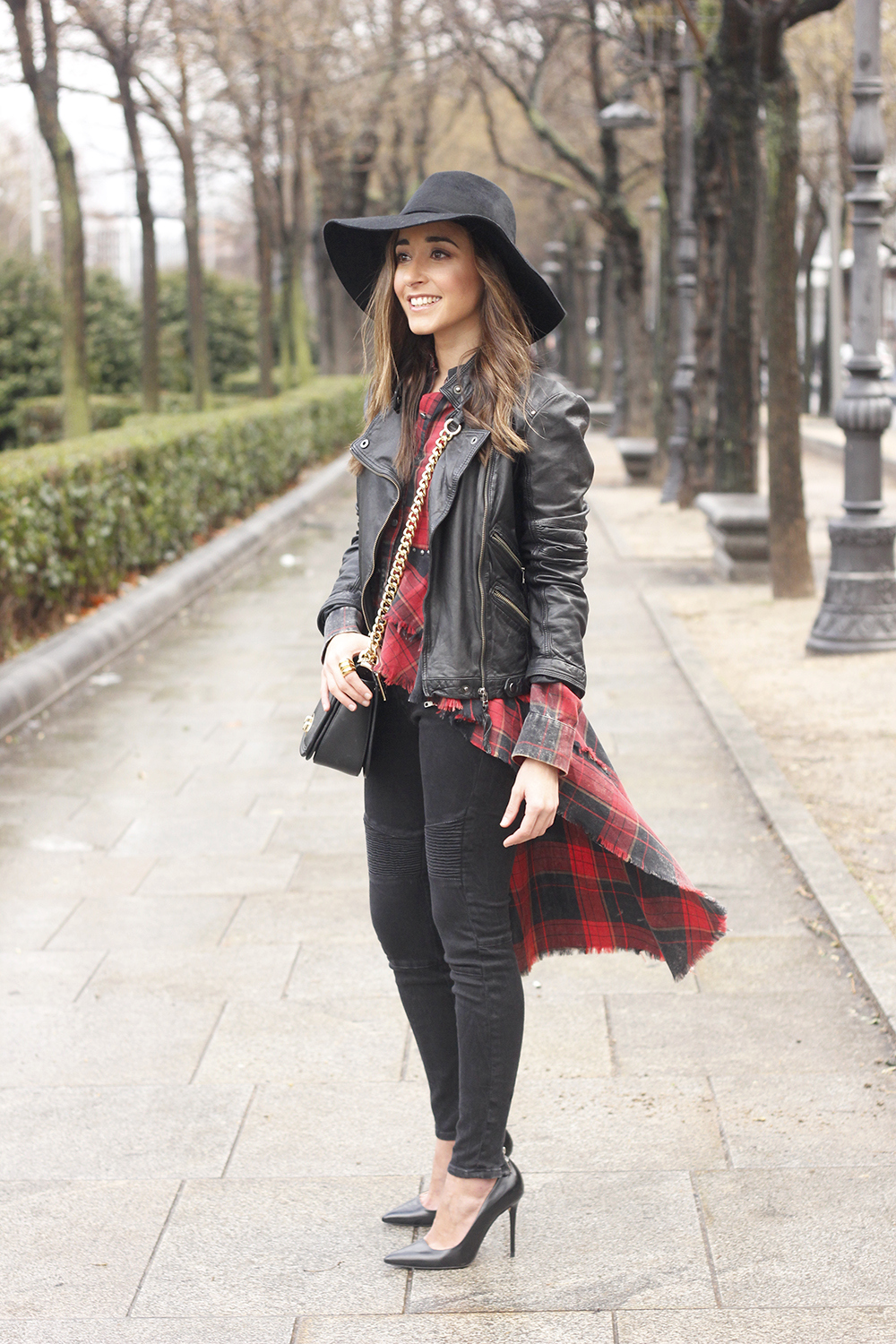 Shirt with tartan print and frills black jeans coach bag heels accessories style fashion outfit05
