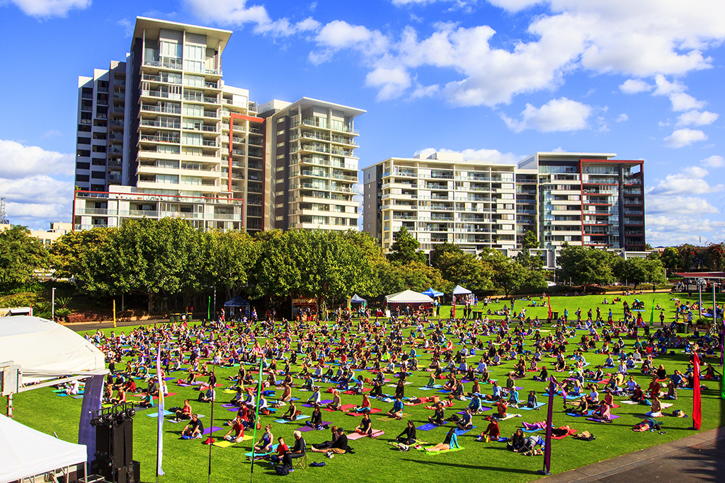 1. International Day of Yoga in Brisbane, Australia