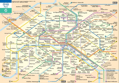 Subway Map Paris. France