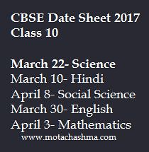 CBSE Date sheet 2017 Class 10