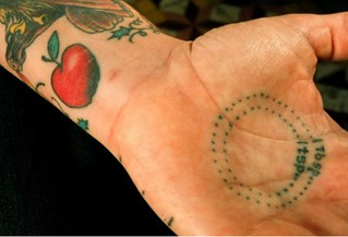 Tablespoon and Teaspoon measurement tattooed onto a Hand