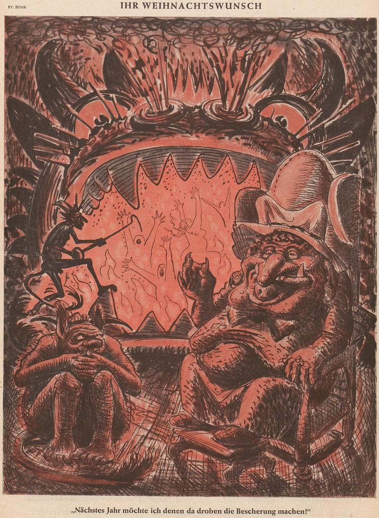 František Bílek - 'Ihr Weihnachtswunsch' (Your Christmas Wish), from 'Der Simpl- Kunst, Karikatur, Kritik', 1949