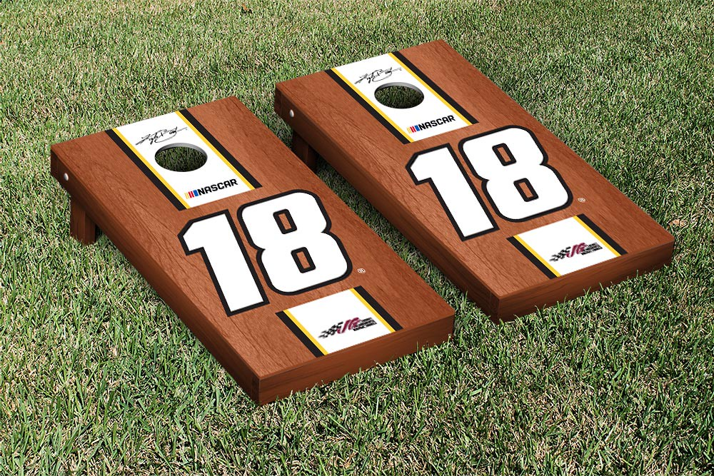 KYLE BUSCH #18 CORNHOLE GAME SET ROSEWOOD STAINED STRIPE VERSION (1
