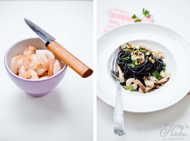 spaghetti al nero di seppia, gamberetti e pistacchi