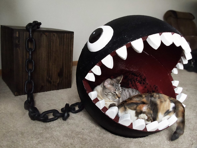 Mario Chain Chomp cat bed by CatastrophiCreations