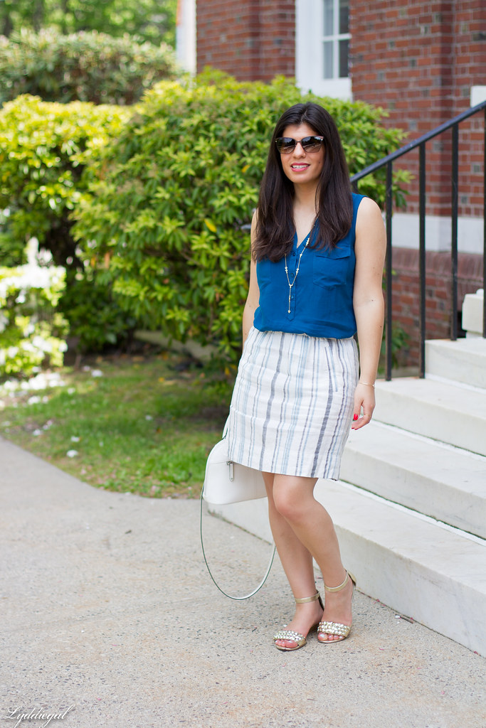 striped linen skirt, blue tank, white bag-10.jpg