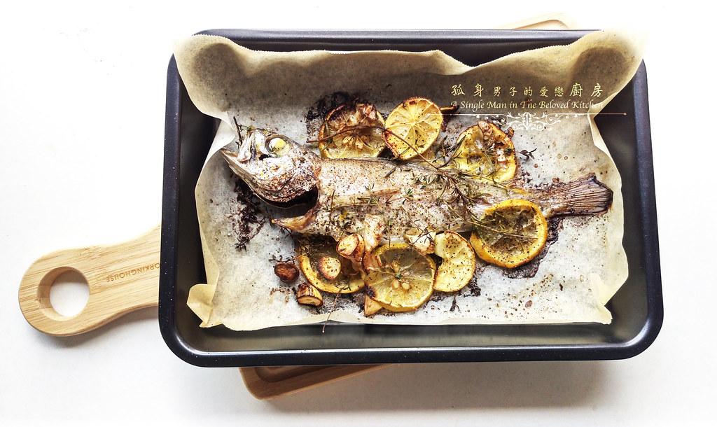 孤身廚房-地中海風味烤黑喉魚佐鑄鐵烤盤烤蔬菜