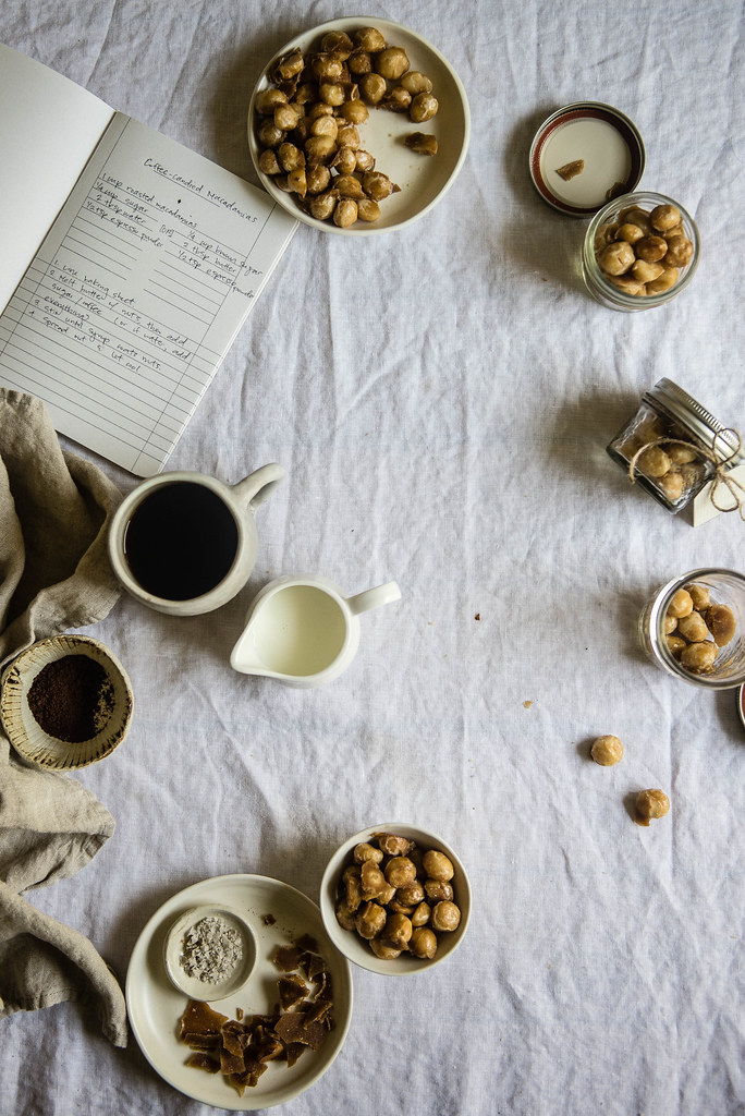 coffee-candied macadamia nuts | two red bowls