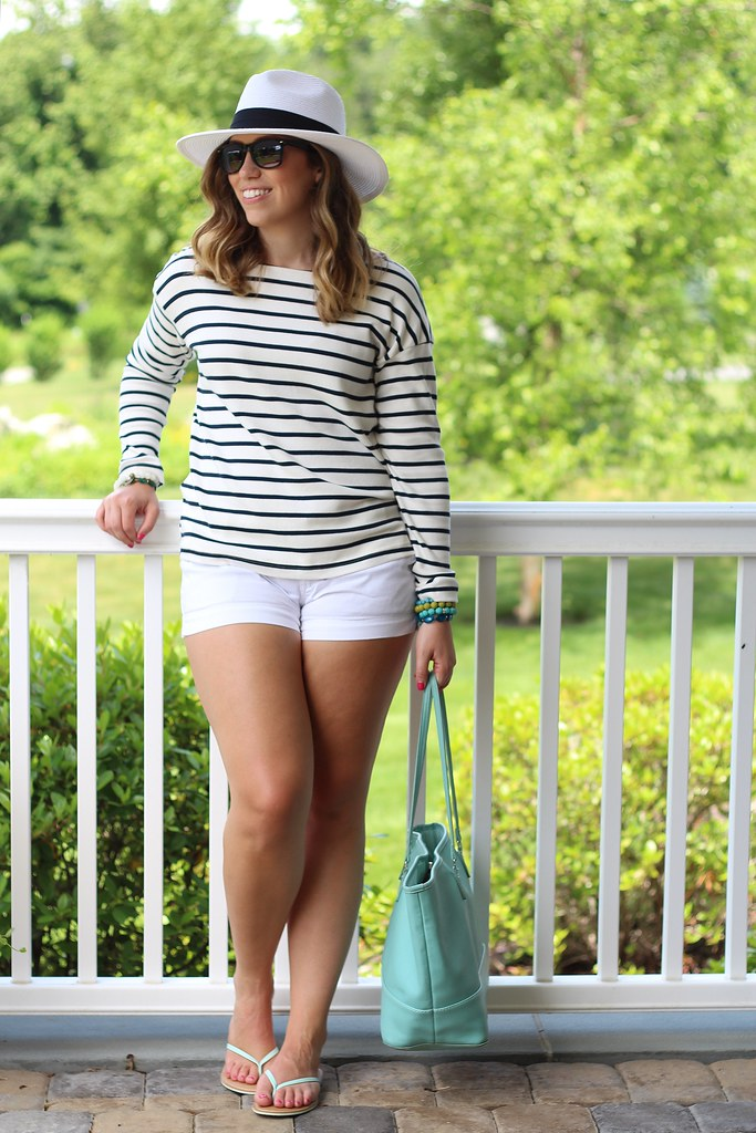 Striped Sweater and White Shorts