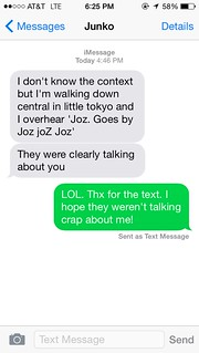 Screenshot: Best text message that received today, from @GoJunko. #LOL | by @jozjozjoz
