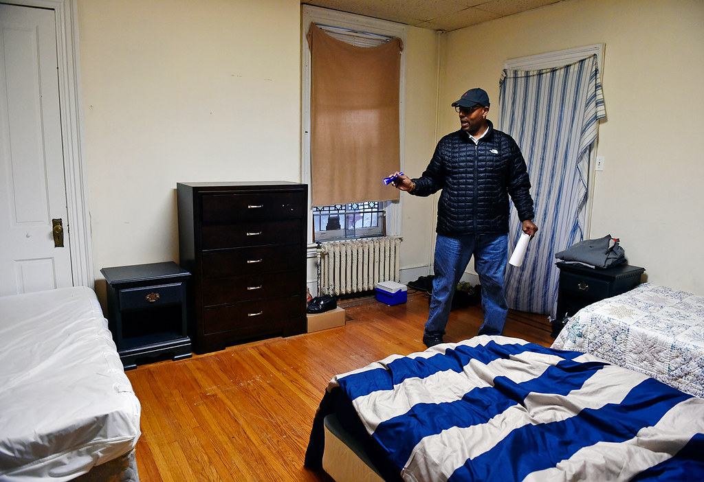 © 2016 by The York Daily Record/Sunday News. Fred Way, executive director of the Pennsylvania Alliance of Recovery Residences (PARR), uses his flashlight as he inspects a shared bedroom in a West Market Street recovery house operated by Safe Haven Transitional Living on Wednesday, Feb. 3, 2016. Two recovery house companies in York city are certified by PARR, which annually inspects each house as part of the certification process.