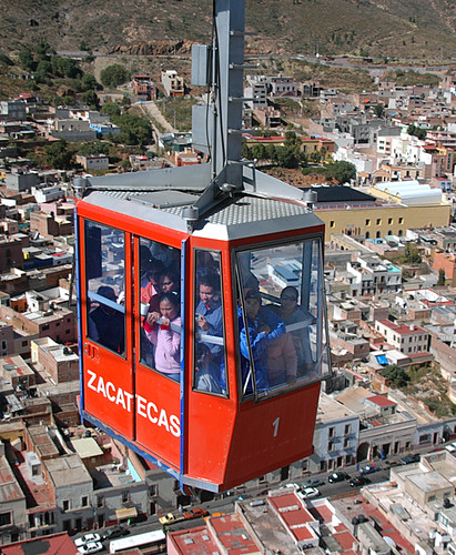 People in a gondola ride up to the Bufa, the highest point in Zacatecas, Mexico
