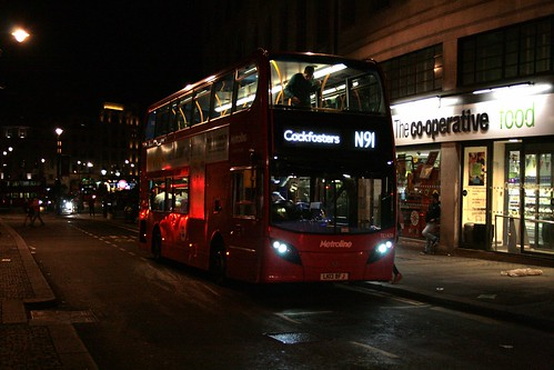 Metroline TE1438 on Route N91, Charing Cross