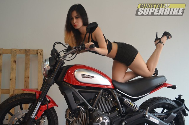 Tammy with the Ducati Scrambler Icon