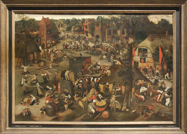 Fairground with theater and procession, Pieter Brueghel II