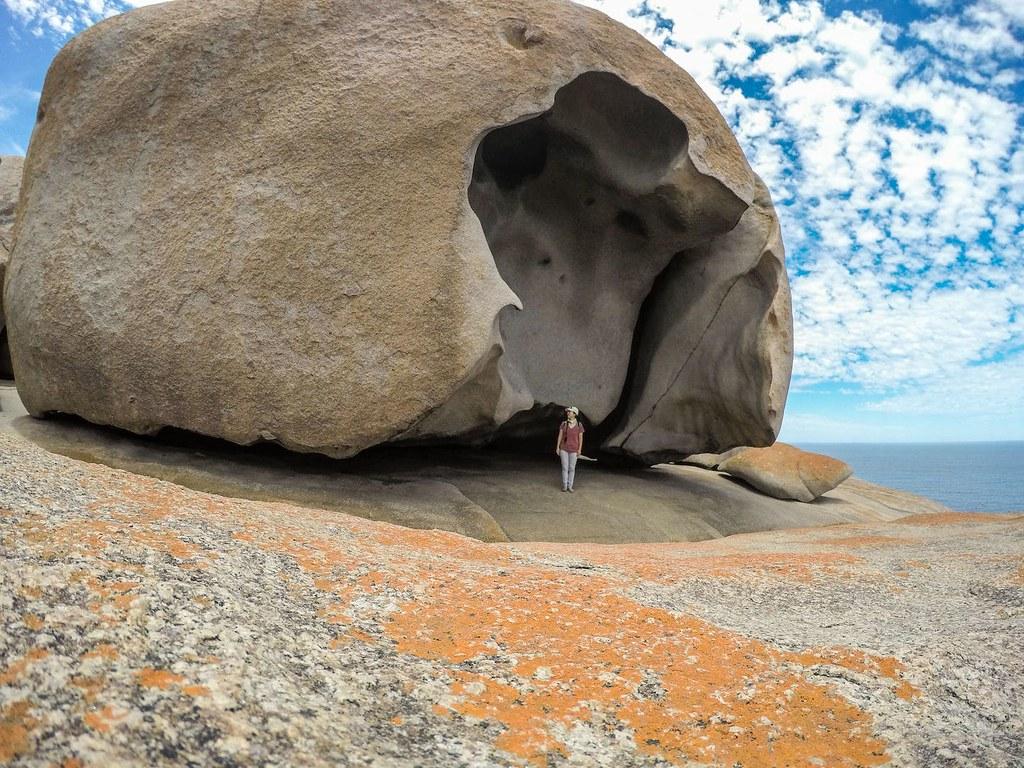 me at Remarkable Rocks on Kangaroo Island