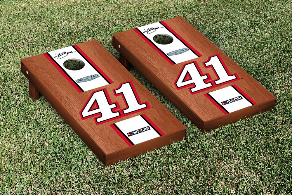 KURT BUSCH #41 CORNHOLE GAME SET ROSEWOOD STAINED STRIPE VERSION