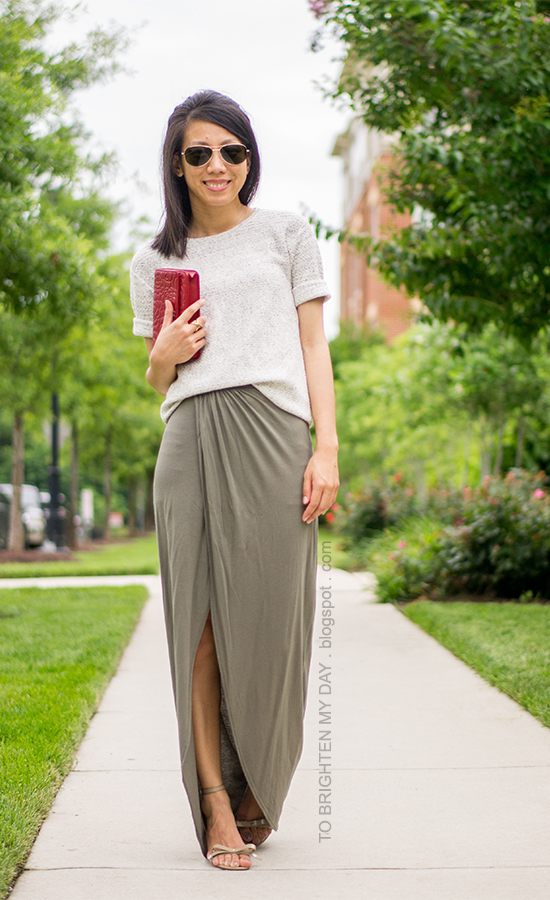 short sleeve gray sweater, olive green maxi skirt, red clutch, bow sandals
