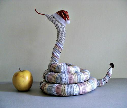 Rolled Paper Snake Sculpture by Clara Maffei