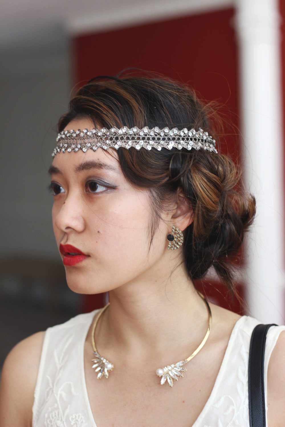 Flapper 1920's party hair inspiration with jeweled headband and pin curls