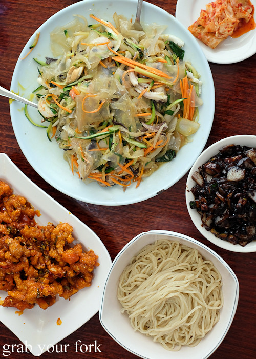 Korean fried chicken, yang jang pi seafood vegetable salad and jajangmyeon black bean noodle at Yang Tz River in Eastwood