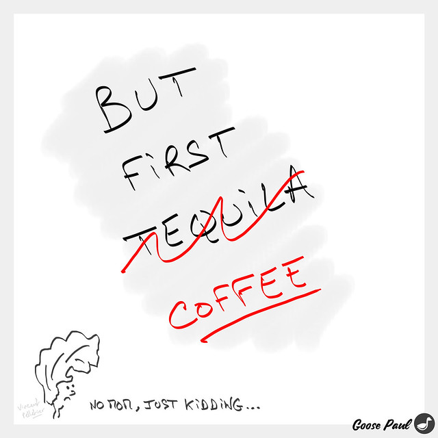 tequila coffee morning cartoon drawing