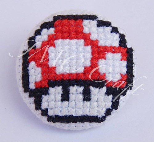 Geeky gaming cross-stitch by JMC Craft - Mario Mushroom