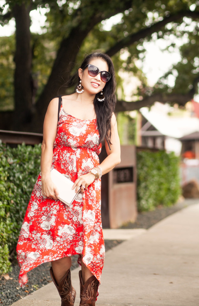 cute & little blog   petite fashion   red floral hankerchief dress, ariat cowboy boots, tory burch white cross body, statement chandelier earrings   summer outfit