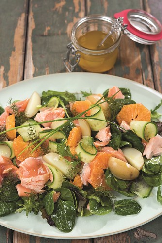 Recipe: Orange, Spinach, and Salmon Salad. Recipe by Chef Catherine Fulvio of Ballyknocken House and Cookery School in Glenealy, Ashford, Co. Wicklow. From The New Irish Table: Recipes from Ireland's Top Chefs