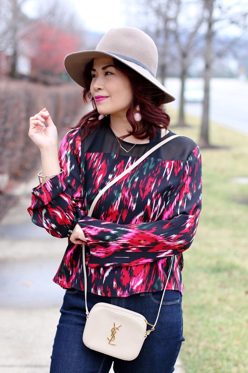 Rainy Valentines Look, red blouse, hat attack ny fedora, saint laurent monogram bag
