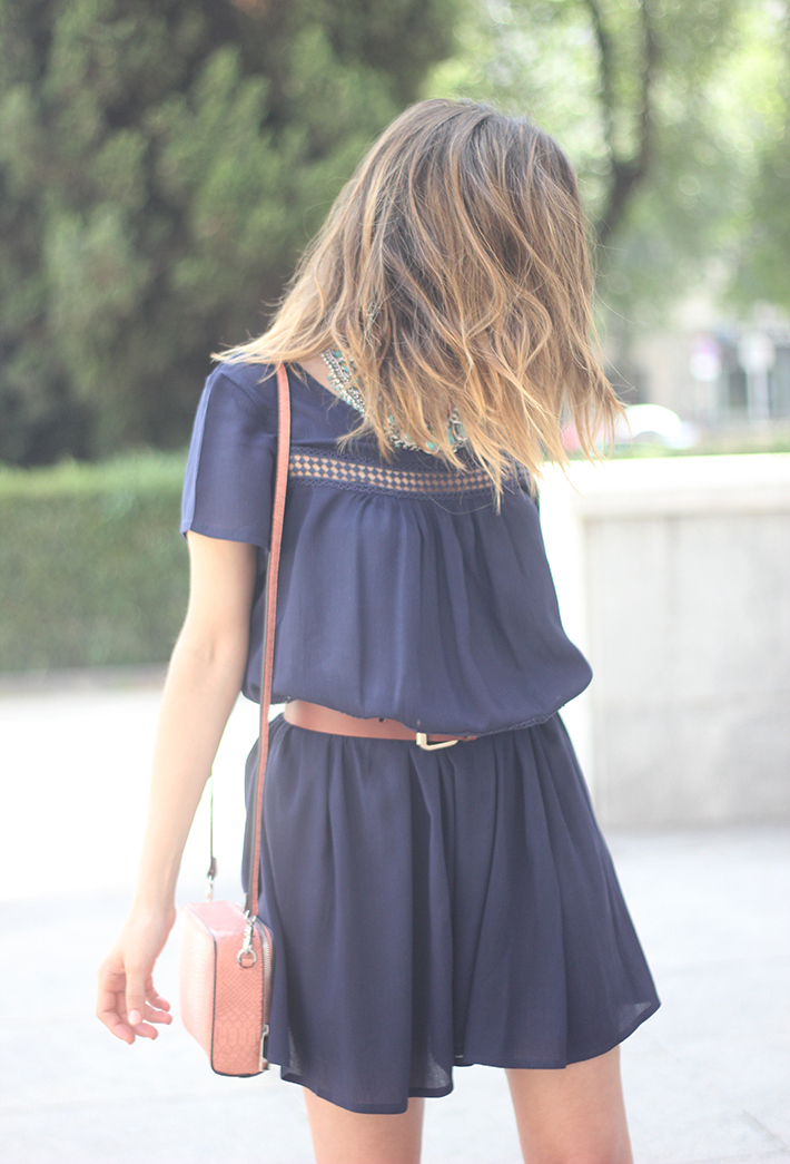 Blue dress Sheinside Wedges summer outfit11