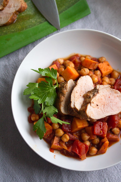 Roast Pork Tenderloin with Chickpea Stew
