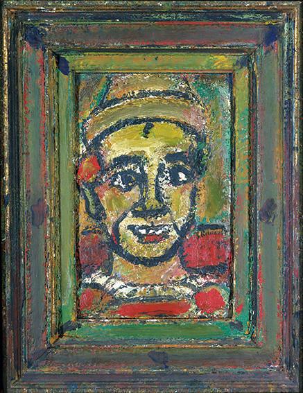 ジョルジュ・ルオーの《エバイ(びっくりした男)》(1948-52年頃、国立西洋美術館蔵)