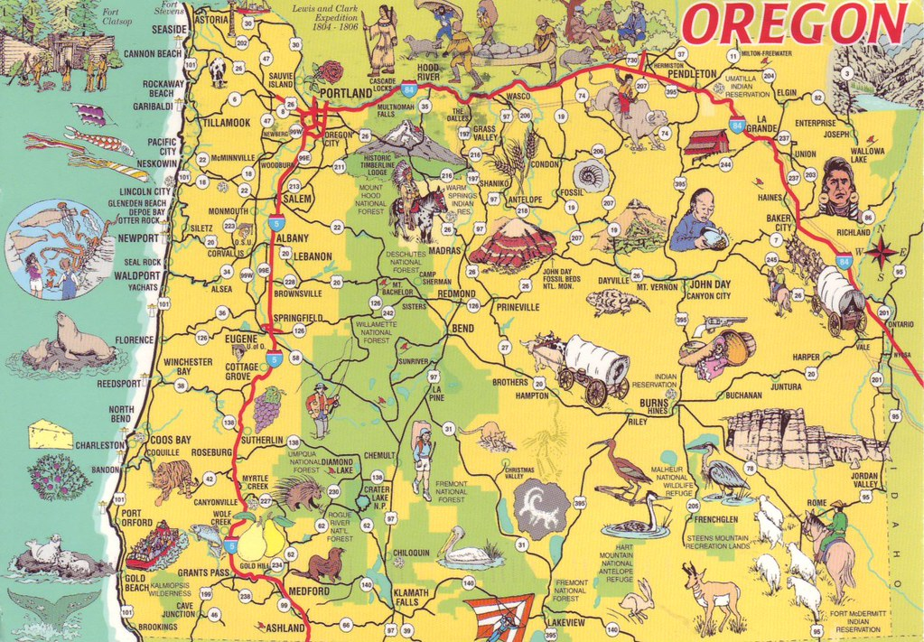 Oregon Map USA sent by Sheri Saperstein in May 2015 tg250607