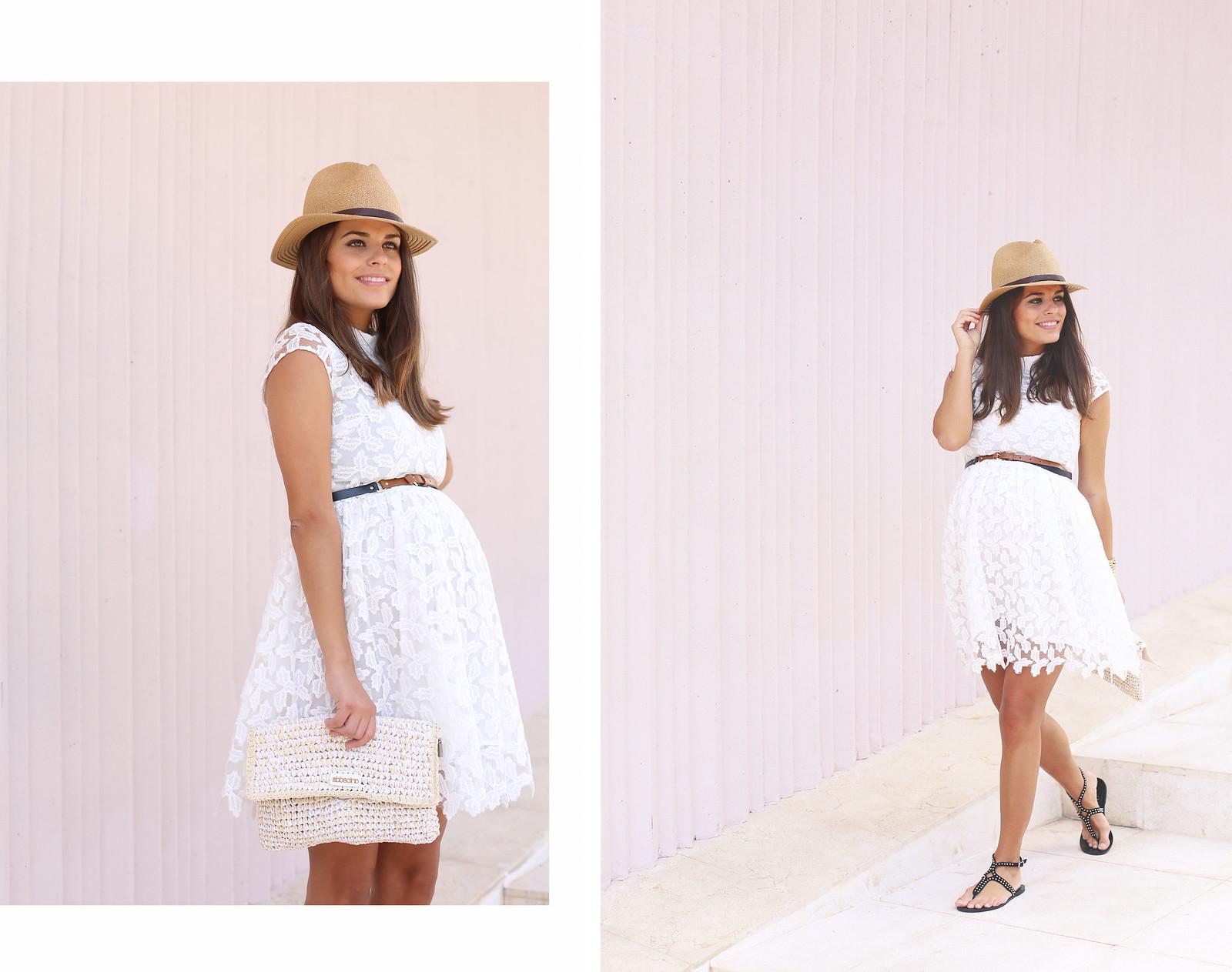 9. lace white short dress - jessie chanes - pregnancy