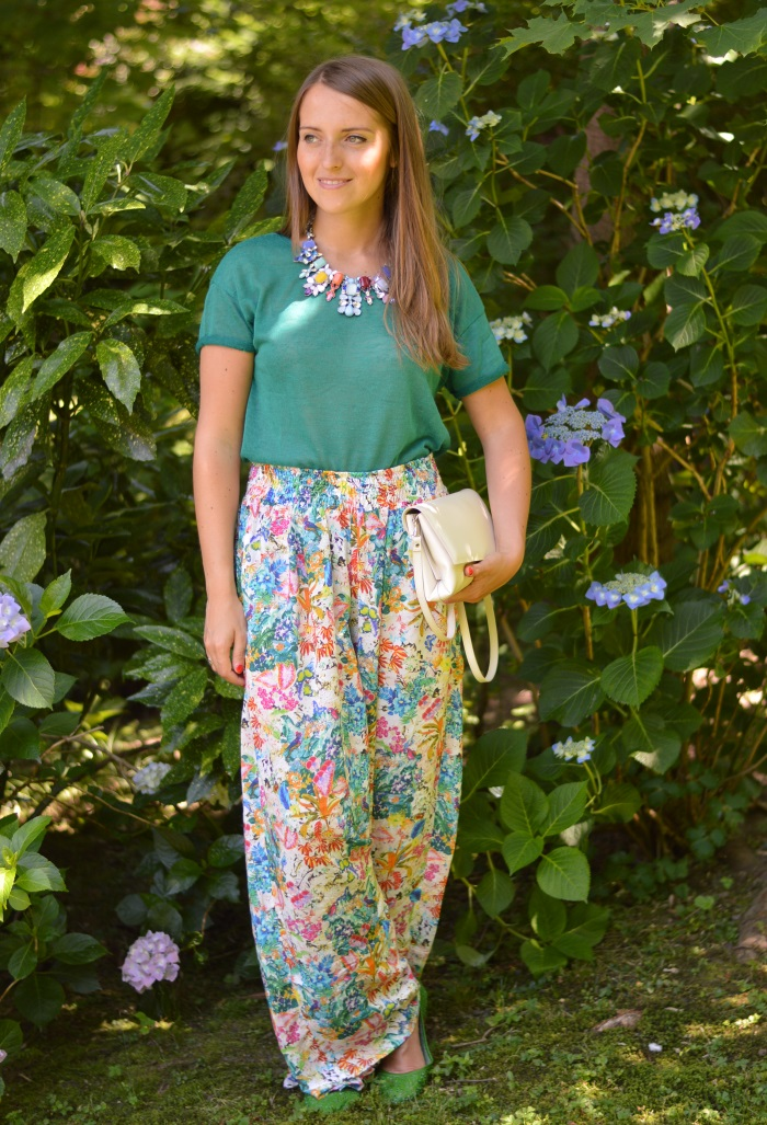 pantaloni palazzo, Zara, wildflower girl, ortensie, fashion blog (3)