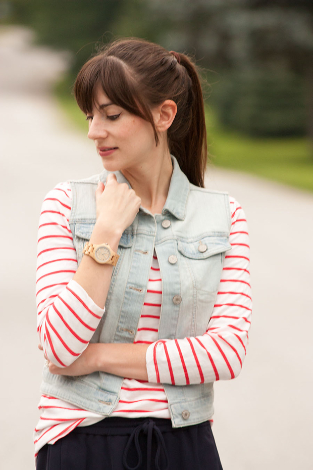 Jord Watch, Striped Tee, Denim Vest
