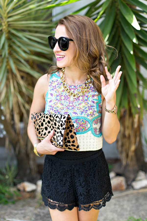 Crochet shorts + crop top + leopard clutch